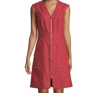 Diane von furstenberg Zip front stud sheath dress